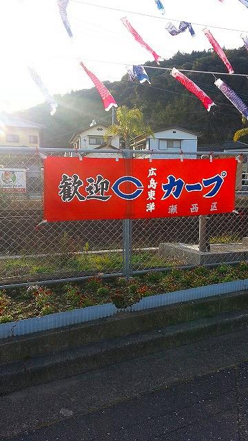 ⑤広島東洋カープを見に天福球場にむかう。応援幕をアップ