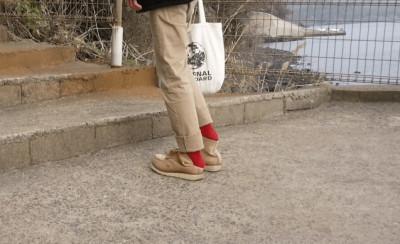 ⑩桜島シーサイドホテルの帰り道お洒落な赤い靴下 (1)