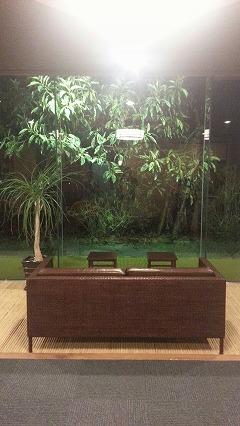 ⑤鹿児島温泉こらん の湯錦江楼、ロビー待合所の景色が良い革張りの椅子