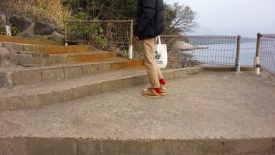 ⑨桜島シーサイドホテルの帰り道お洒落は足元から